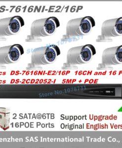 Hikvision-nvr-ds-7616ni-e2-16-p-16ch-16-portas-poe-8-pcs-hikvision-5mp-câmera